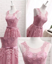 Load image into Gallery viewer, Pink Round Neck Lace Tulle Prom Dress, Lace Evening Dresses - DelaFur Wholesale