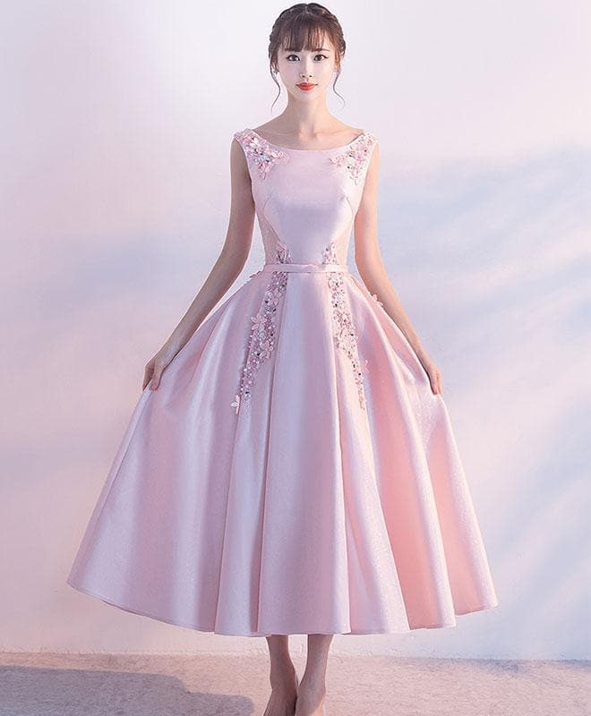 Pink Satin Lace Tea Length Prom Dress, Pink Evening Dress - DelaFur Wholesale