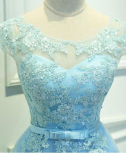 Load image into Gallery viewer, Light Blue Lace Tulle Short Prom Dress, Homecoming Dress - DelaFur Wholesale