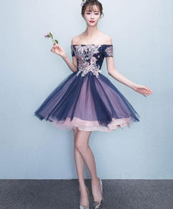 Cute Tulle Lace Off Shoulder Short Prom Dress, Homecoming Dress - DelaFur Wholesale