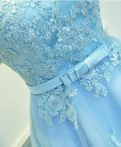 Light Blue Lace Tulle Short Prom Dress, Homecoming Dress - DelaFur Wholesale