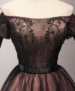 Cute Black Tulle Lace Short Prom Dress, Homecoming Dress - DelaFur Wholesale