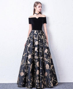Black Off Shoulder Long Prom Dress, Black Evening Dress - DelaFur Wholesale