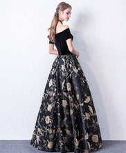 Load image into Gallery viewer, Black Off Shoulder Long Prom Dress, Black Evening Dress - DelaFur Wholesale