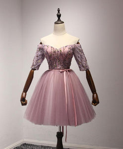 Cute Pink Tulle Lace Short Prom Dress, Homecoming Dress - DelaFur Wholesale