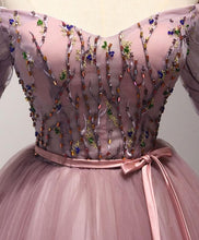 Load image into Gallery viewer, Cute Pink Tulle Lace Short Prom Dress, Homecoming Dress - DelaFur Wholesale