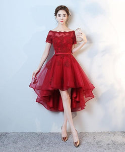 Burgundy Lace High Low Short Prom Dress, Lace Evening Dress - SpreePicky FreeShipping