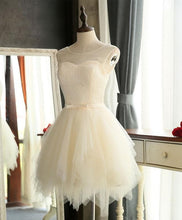 Load image into Gallery viewer, Cute A Line Tulle Round Neck Mini Prom Dress, Cheap Evening Dress - DelaFur Wholesale