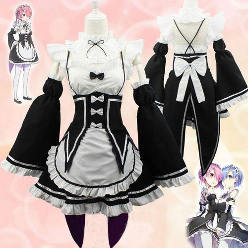 Ram/Rem Cosplay Maid Dress Costume Set Re:Zero Life In a Different World From Zero SS036