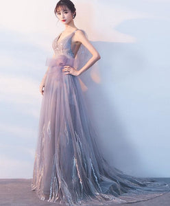 Gray Tulle Long Prom Dress, Gray Evening Dress - DelaFur Wholesale