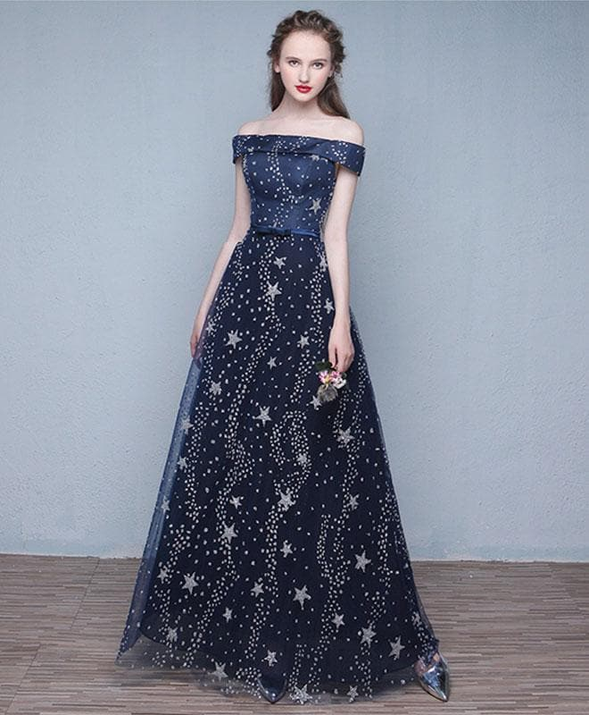 Blue Long Prom Dress, Off Shoulder Evening Dress - DelaFur Wholesale