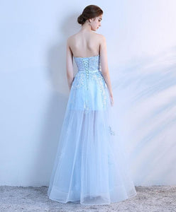Sky Blue Lace Long Prom Dress, Lace Evening Dress - DelaFur Wholesale