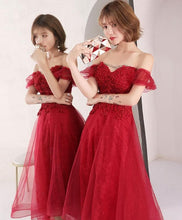 Load image into Gallery viewer, Burgundy Lace Short Prom Dress, Burgundy Evening Dress - DelaFur Wholesale