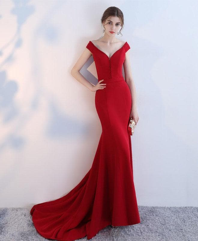 Red V Neck Mermaid Long Prom Dress, Red Evening Dress - DelaFur Wholesale