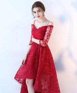 Stylish High Low Lace Prom Dress, Lace Evening Dress - DelaFur Wholesale