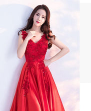 Load image into Gallery viewer, Red V Neck Lace Long Prom Dress, Lac Evening Dress - DelaFur Wholesale