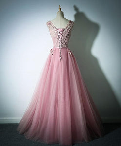 Pink Lace Tulle Long Prom Dress, Pink Evening Dress - DelaFur Wholesale