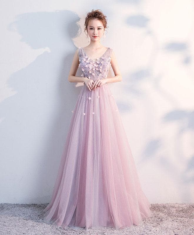 Cute V Neck Tulle Long Prom Dress, Evening Dress - DelaFur Wholesale