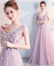Load image into Gallery viewer, Cute V Neck Tulle Long Prom Dress, Evening Dress - DelaFur Wholesale