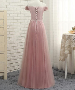 Pink A Line Tulle Off Shoulder Long Prom Dress, Cheap Evening Dress - DelaFur Wholesale