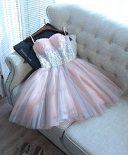 Load image into Gallery viewer, Cute Pink Sweetheart Neck Tulle Seqsuins Short Prom Dress, Cocktail Dress - DelaFur Wholesale