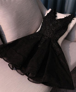 Black V Neck Lace Short Prom Dress,Homecoming Dresses, Homecoming Dresses - DelaFur Wholesale