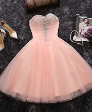 Load image into Gallery viewer, Pink A Line Sweetheart Neck Short Prom Dress, Homecoming Dresses - DelaFur Wholesale