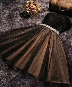 Black A Line Sweetheart Neck Short Prom Dress, Homecoming Dresses - DelaFur Wholesale