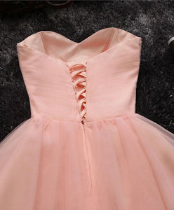 Pink A Line Sweetheart Neck Short Prom Dress, Homecoming Dresses - DelaFur Wholesale