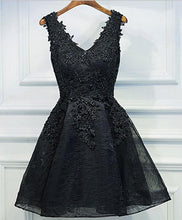 Load image into Gallery viewer, Black V Neck Lace Short Prom Dress,Homecoming Dresses, Homecoming Dresses - DelaFur Wholesale