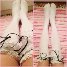 Load image into Gallery viewer, [Black/White]Cosplay Lolita Lace with Ribbon Over Knees Stockings SP141532 - SpreePicky  - 4