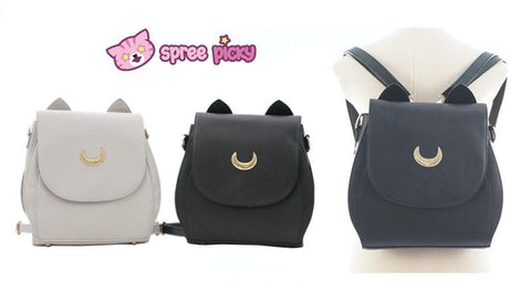 Grey/Black Sailor Moon Luna Mini 3 ways Backpack Bag SP152999 - SpreePicky  - 3