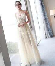 Load image into Gallery viewer, Stylish Champagne Tulle Lace Long Prom Dress, Evening Dress - DelaFur Wholesale