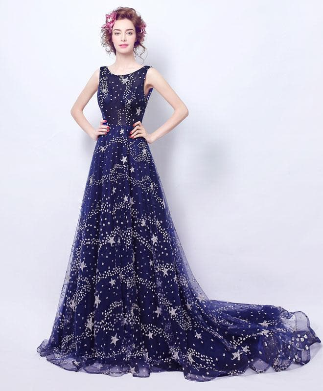 Blue Long Prom Dress, Blue Evening Dress, Formal Dress - DelaFur Wholesale