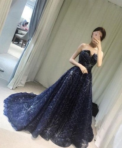 Blue Long Prom Gown, Blue Evening Dress, Formal Dress - DelaFur Wholesale