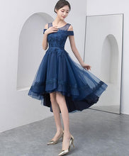 Load image into Gallery viewer, Dark Blue Lace Tulle Short Prom Dress - SpreePicky FreeShipping
