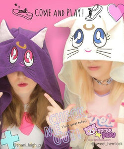 Sailor Moon Luna Artemis Fleece Hoodie Jacket Coat SP141188