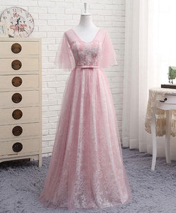 A Line V Neck Lace Tulle Long Prom Dress, Lace Evening Dress - SpreePicky FreeShipping