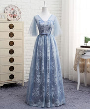 Load image into Gallery viewer, A Line V Neck Lace Tulle Long Prom Dress, Lace Evening Dress - SpreePicky FreeShipping