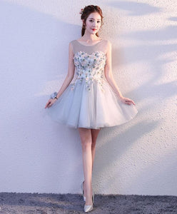 Gray Round Neck Tulle Short Prom Dress, Formal Dress - DelaFur Wholesale