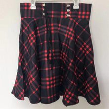 Load image into Gallery viewer, Plus Size Black-Red Gothic High Waist Laced Plaid Skirt SP14143