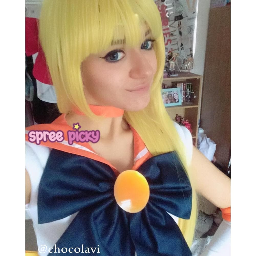 Golden Yellow Cosplay Sailor Moon Sailor Venus Long Straight Wig 100cm SP152588