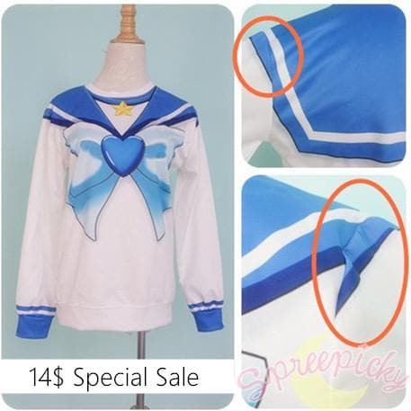 [Special Sale] [Sailor Moon] Sailor Mercury Defective Printing Sweatershirt SP151626