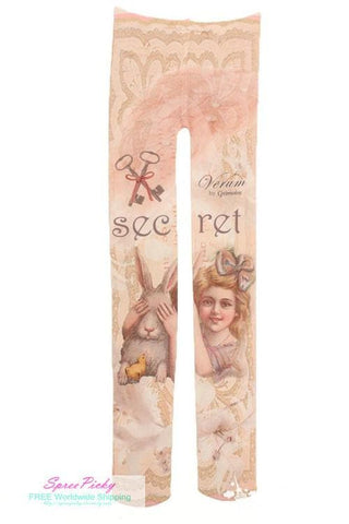 Girl and Rabbit Tattoo Tights  SP130041 - SpreePicky  - 2