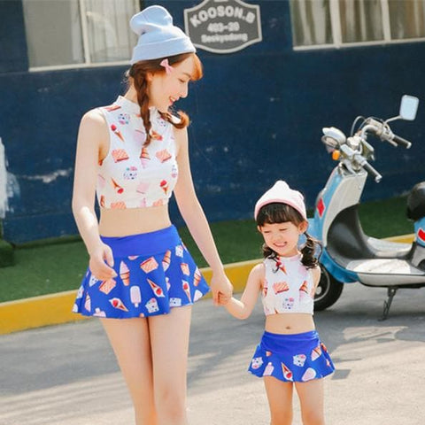 Ice-cream Family Fitted 2 Pieces Set Swimming Suit SP165548