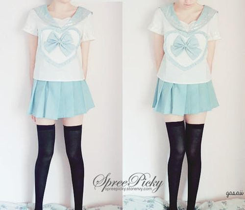 Blue/Pink Sailor School Look Heart Bow T-shirt TOP ONLY SP130068 - SpreePicky  - 1