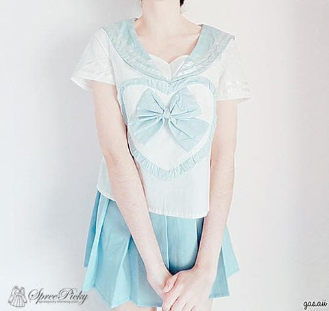 Blue/Pink Sailor School Look Heart Bow T-shirt TOP ONLY SP130068 - SpreePicky  - 2