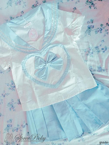 Blue/Pink Sailor School Look Heart Bow T-shirt TOP ONLY SP130068 - SpreePicky  - 3