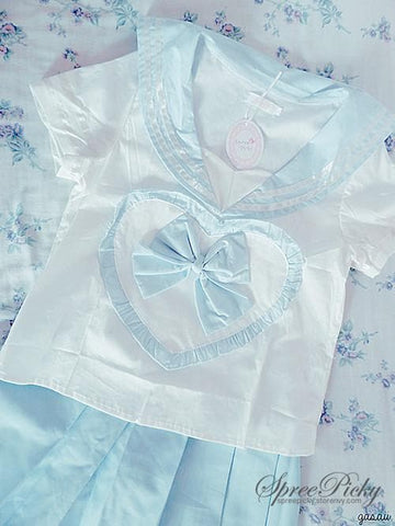 Blue/Pink Sailor School Look Heart Bow T-shirt TOP ONLY SP130068 - SpreePicky  - 4