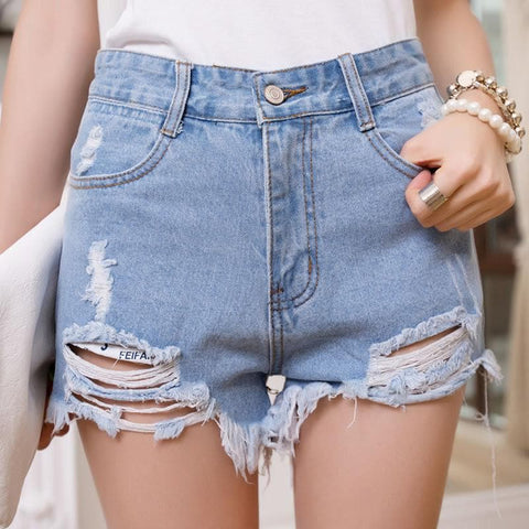 Black/White/Blue High-Waisted Jeans Shorts SP165427